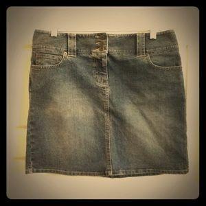 💎Ann Taylor Loft denim jean skirt button front